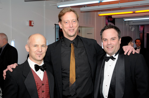 Jim Vincent, left, with HSDC associate artistic director Lucas Crandall and executive director Jason Palmquist.