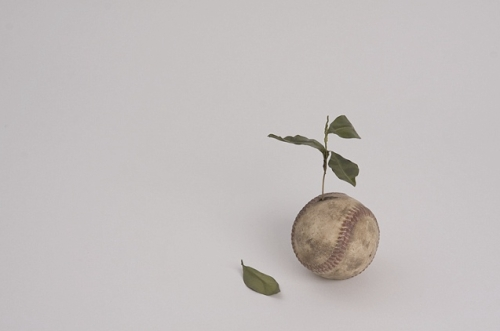 """Untitled (Baseball Plant)"""" by Ali Bailey, 2009. Cast polyurethane, brass, epoxy and oil paint. Photo courtesy Golden."""