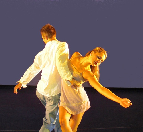 "Giordano dancers Craig Kaufman and Meredith Schultz in ""Gravity."" Photo by Kam Hobbs."