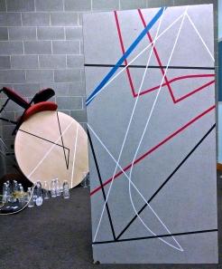 Production lounge installation under working lights. Photo by Zachary Whittenburg.
